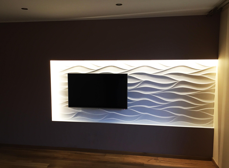 ściana Telewizyjna Salonu W Domu Jednorodzinnym Art Cub