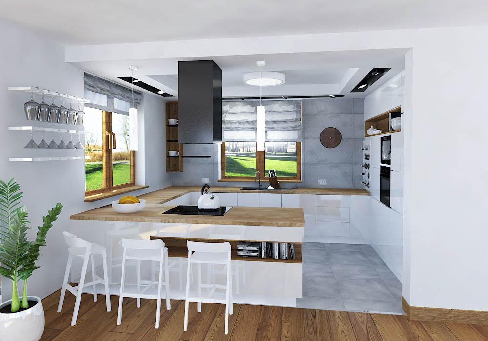 Biala Kuchnia Z Betonem Architektonicznym Art Cub Wykonczenia